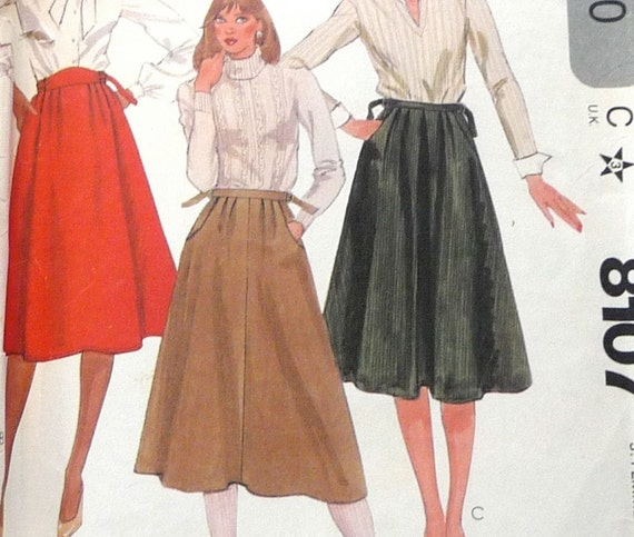 1980s sewing pattern midi skirt with by fancyluckycouturier