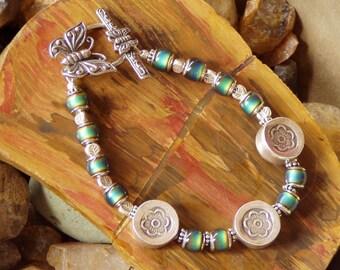 Colour Changing Fine Silver Flora Butterfly Rainforest Bracelet
