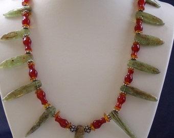 Rainforest Hues Green Kyanite Baltic Amber Carnelian  Necklace Bracelet Set
