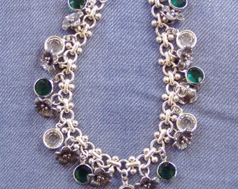 Sterling Silver Swarovski Channel Crystal Emerald Green Wild Flower Charm Bracelet