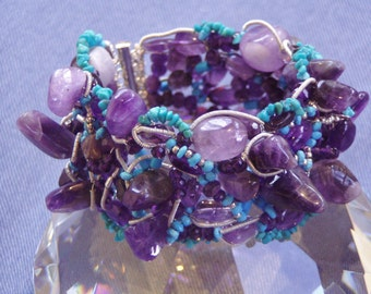 Amethyst  and Sleeping Beauty Turquoise Cuff