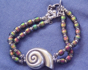 Tropical Modern Tribal Nautilus Shell Fine Silver Colour Changing Bracelet