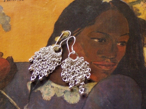 Cascading Silver chainmaille Earrings