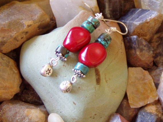 Tribal  Life Coral and Turquoise  Earrings