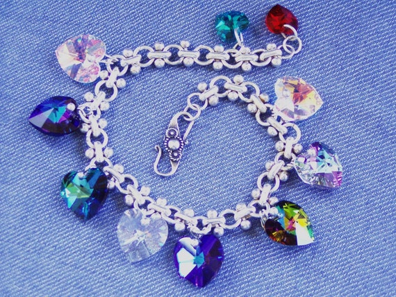 Rainbow of  Love Hearts Swarovski  Bracelet