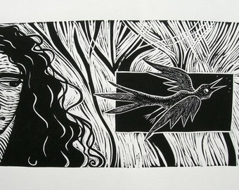 Little Bird Flying Off To Tell Mum. Linoprint by Robyne Melia