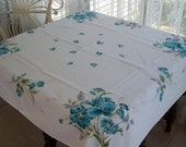 Lovely Vintage Shabby Aqua Floral Tablecloth