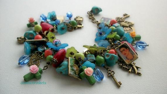 Frida Kahlo Antiqued Bronzetone Pictures Charm Bracelet