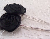 2 Black rose hair-pins, brown hairpin, ivory hairpin, hair accessory, floral hair pin, wedding accessory, bridal hairpin, fashion accessory,