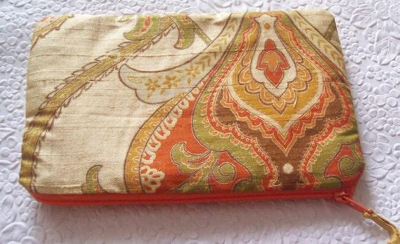 Gold orange purse, fabric purse, zippered purse, fashion accessory, womens accessory