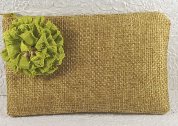 RESERVED FOR KAREN - Fabric zippered purse wallet  flower  light green beige leather leaf pull holds cell phone makeup keys