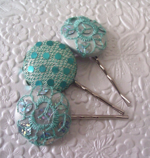 3 aqua bling hair-pins -  hair accessory occasion party wedding