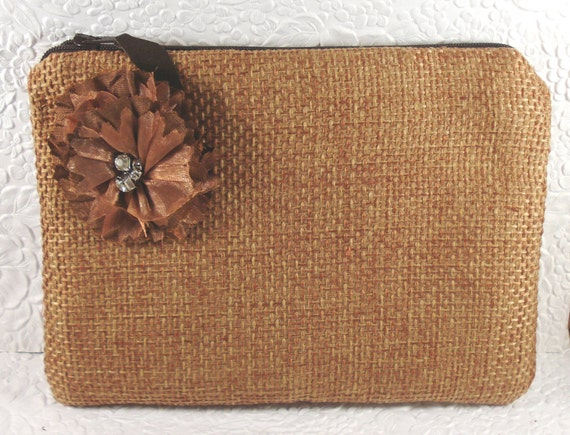 RESERVED FOR KAREN - Nutmeg brown fabric zippered purse wallet with flower - holds cell phone makeup keys