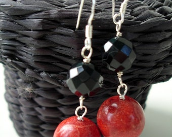 Onyx and Coral earrings