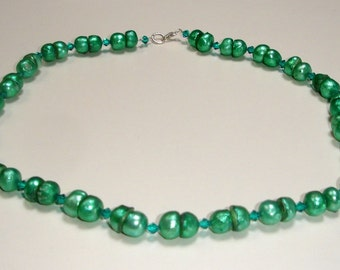 Green Swarovski crystals with freshwater pearls