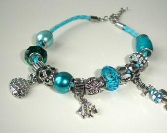 Chrystal blue - charm bracelet - Seaworld