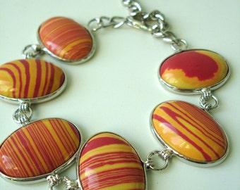 Fake Malachit bracelet in orange and yellow