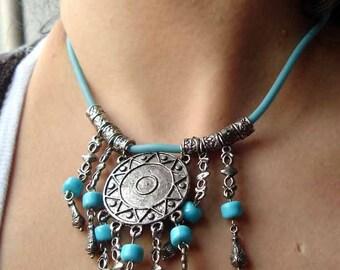 Ethno-style blue necklace