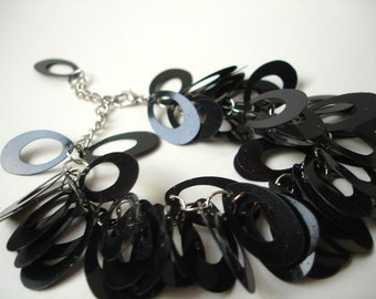 Black loop charm bracelet