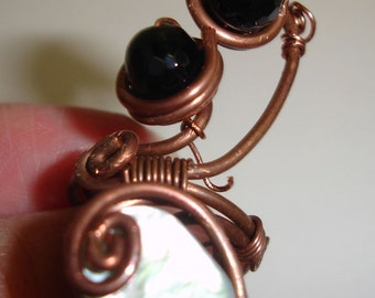 Copper Wire Ring - Metalwork - Mother of Pearl Disc and Crystal Beads - Black and White -  Wire - Wrapped