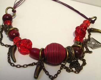 Mixed Media Red Necklace