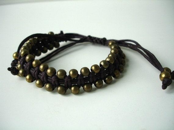 Copper macramee bracelet