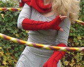 Red Fingerless Gloves, Extra Long Recycled Fleece  Arm warmers, Black thread details, size Medium