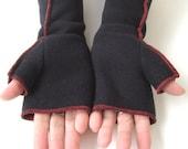 Rocker Black Recycled Fleece Fingerless Gloves, Extra Long , red thread details, size Medium