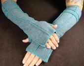 Gray Extra Long Fingerless Gloves, Recycled Fleece,  Teal thread, vegan, size LARGE