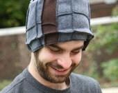 Grey and Brown Recycled Fleece Hat, vegan, black thread, size Medium