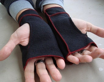 Recycled Fleece Black Xmittens Fingerless gloves with Red thread details-  SIZE LARGE, SALE