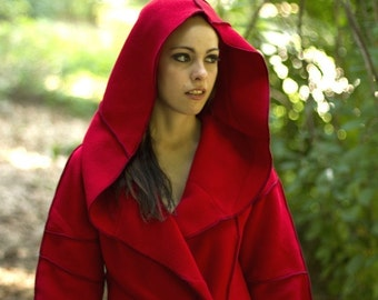 Red Hooded Jacket, Recycled Fleece, size Small, Size 6/8, vegan, ready to ship