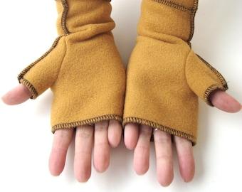 Mustard Fleece Fingerless Gloves, Yellow Recycled, vegan, size SMALL,  black thread details