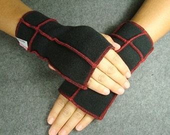 Black Fingerless Mittens, recycled fleece, red thread details, vegan, MEDIUM- SALE