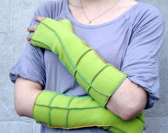 Lime Green Xmittens, Recycled Fleece Fingerless Gloves, Extra Long, Multicolored thread details, size MEDIUM