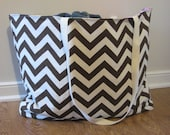 Beach Bag Extra Large - Brown Chevron Beach Tote - Water Resistant Lining - Interior Pocket
