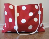 Beach Bag Extra Large - White Polka Dot on Red Beach Tote - Water Resistant Lining - Interior Pocket