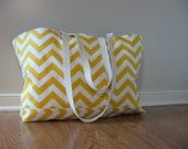 Beach Bag Extra Large - Yellow Chevron Slub Beach Tote - Water Resistant Lining - Interior Pocket
