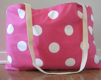 Beach Bag Extra Large - Pink & White Polka Dot Beach Tote - Water Resistant Lining - Interior Pocket