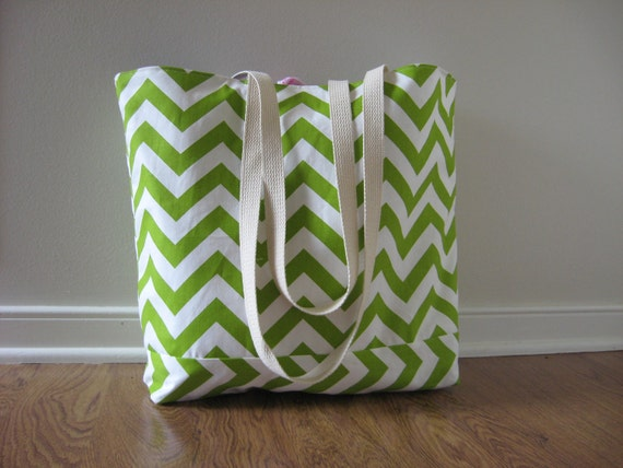 Large Beach Bag - Chartreuse Chevron Beach Tote - Water Resistant Lining - Interior Pocket