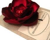 Large Rose hair pin, crimson