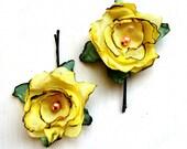 Wild Rose hair pins, yellow
