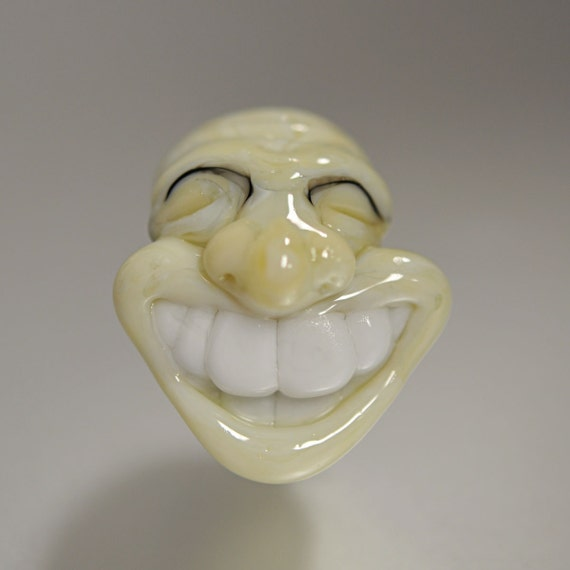 Lampwork Smile Big Hole Bead Pendant - Cream - Handmade Lampwork by Puddy Tat Glass