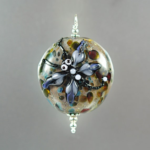 Lampwork Dragonfly Pendant - Organic - Handmade Lampwork Beads by Puddy Tat Glass