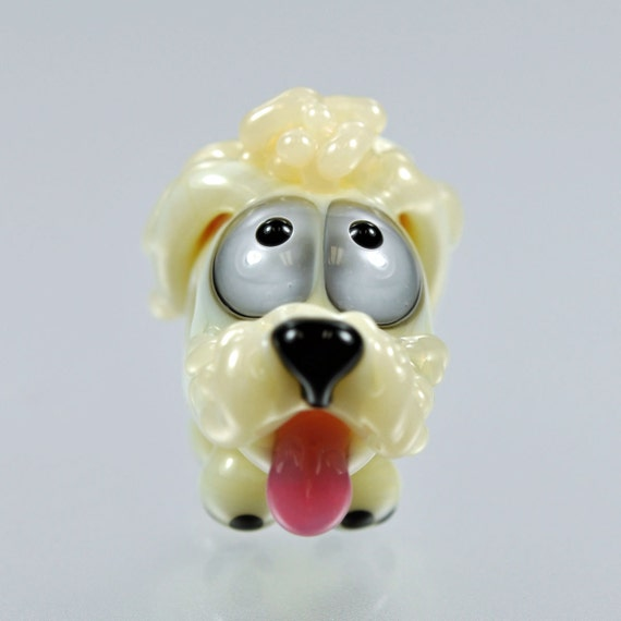 RESERVED for Kim - Poodle Dog Big Hole Bead - Handmade Lampwork Bead by Puddy Tat Glass