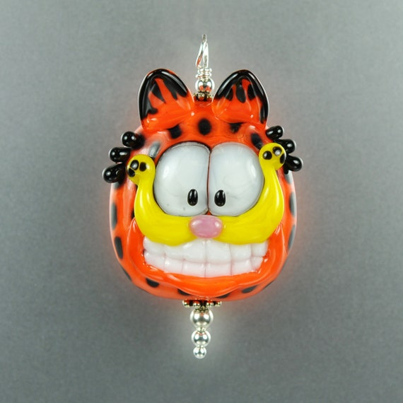 RESERVED for Duffy - Lampwork Cat Glass Pendant - Orange Tabby - Handmade Lampwork by Puddy Tat Glass