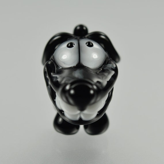Dachshund Big Hole Bead - Black and Gray - Handmade Lampwork by Puddy Tat Glass