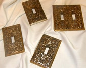 Brass Antique Switchplate Covers 1940s Set of 4