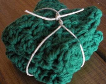 Green Cotton Crochet Dishcloths - Set of 2