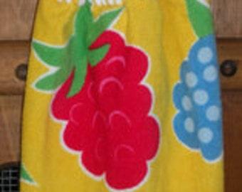 Fruity on Yellow Crochet Top Hanging Towel